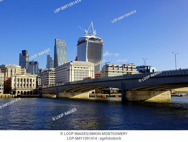 Buildings in the City of London across from London Bridge
