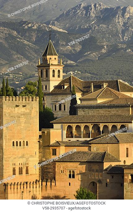 Spain, Andalusia, Granada, World Heritage Site, The Alhambra and Sierra Nevada