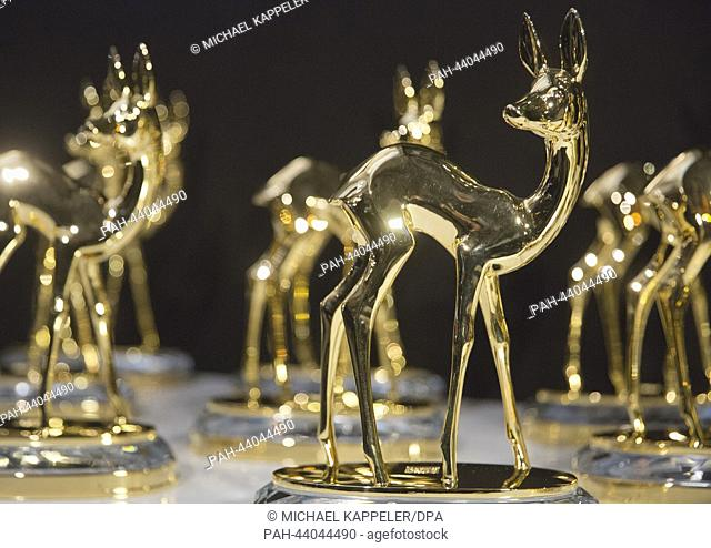 The golden Bambi, the award of media prize Bambi, is presented during a press conference prior to the award ceremony in Berlin, Germany, 13 November 2013