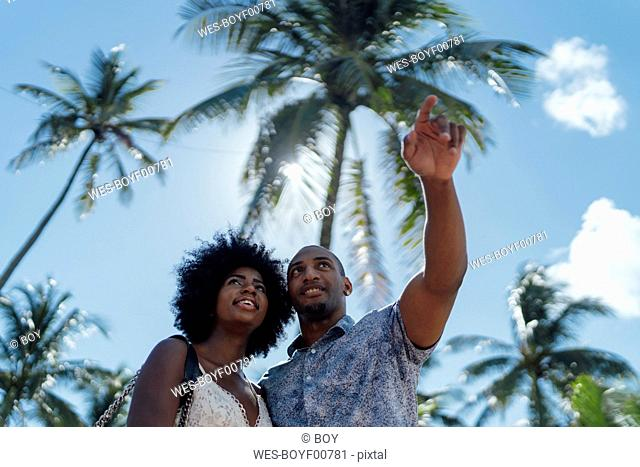 USA, Florida, Miami Beach, young couple under palm trees in summer