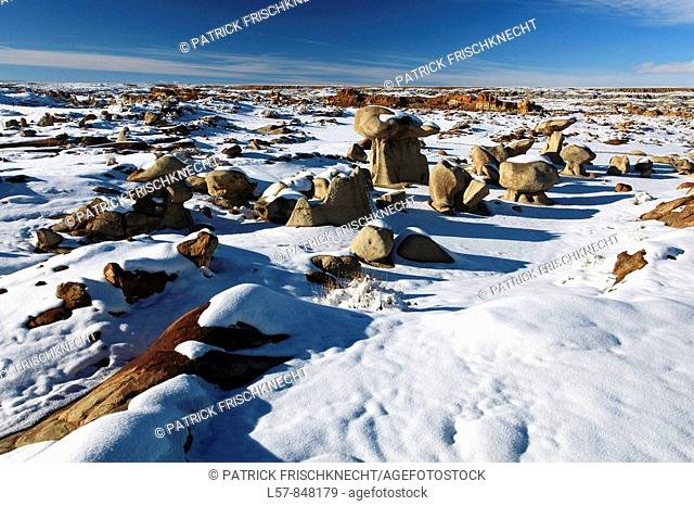 Bisti Badlands, hoodoos eroded out of sandstone and clay in winter, Bisti Wilderness, New Mexico, USA