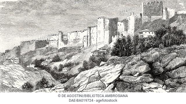 The walls of Trabzon, Turkey, engraving from L'Illustrazione Italiana, No 20, May 20, 1877