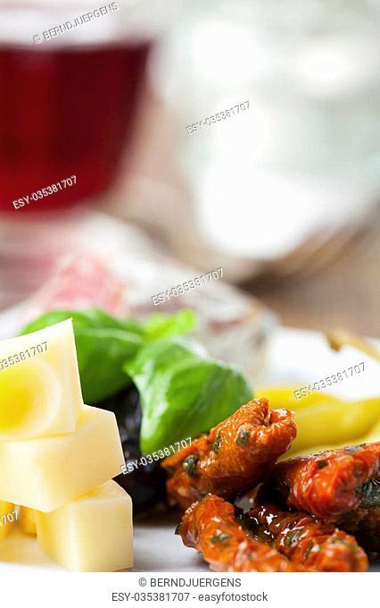 closeup of mixed italian antipasti