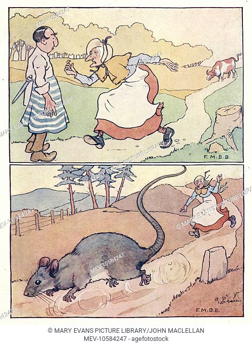 Nursery Rhymes -- two illustrations, The Old Woman and Her Pig. The ox refuses to drink the water, so she asks the butcher to kill the ox, but he refuses