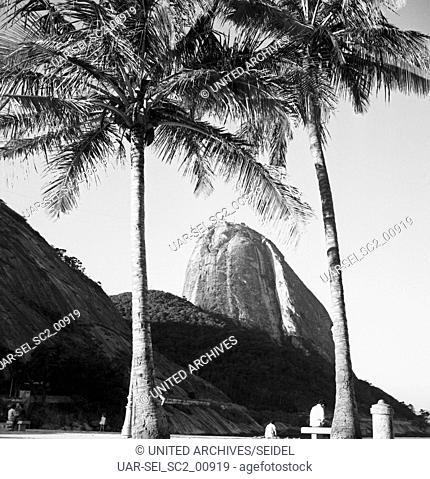 Blick auf den Zuckerhut, Brasilien 1960er Jahre. View of the Sugarloaf Mountain, Brazil 1960s