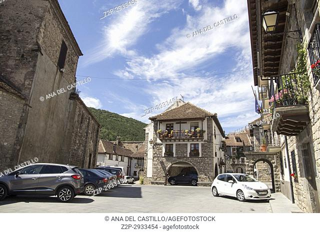 Hecho village in Huesca Aragon Spain. Palace square