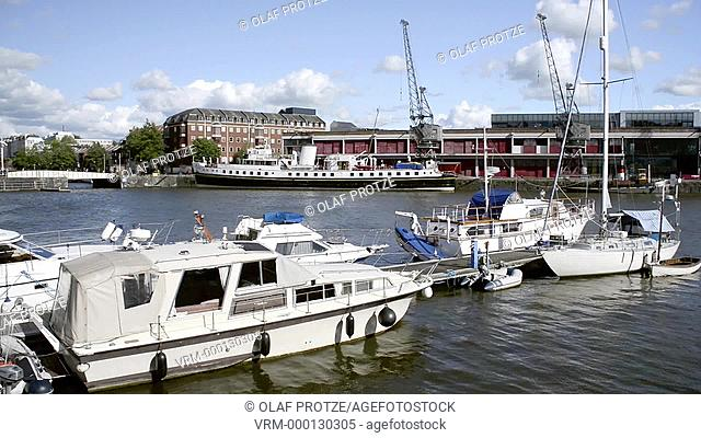 View over the Marina at the Millenium Square Landing at the Floating Harbour in Bristol Somerset England