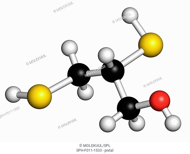 Dimercaprol (BAL, British Anti-Lewisite) metal poisoning antidote molecule. Atoms are represented as spheres with conventional color coding: hydrogen (white)