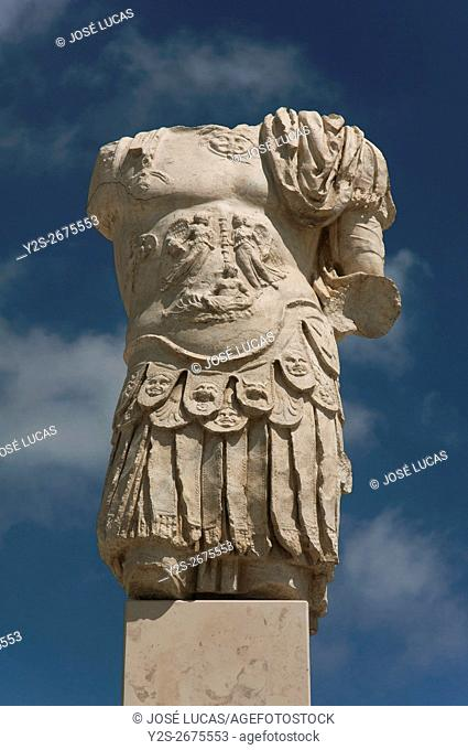 Torreparedones, iberian-roman archaeological park, statue in the forum-1st century, Baena, Cordoba province, region of Andalusia, Spain, Europe