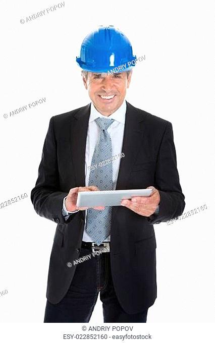 Architect Man Using Digital Table