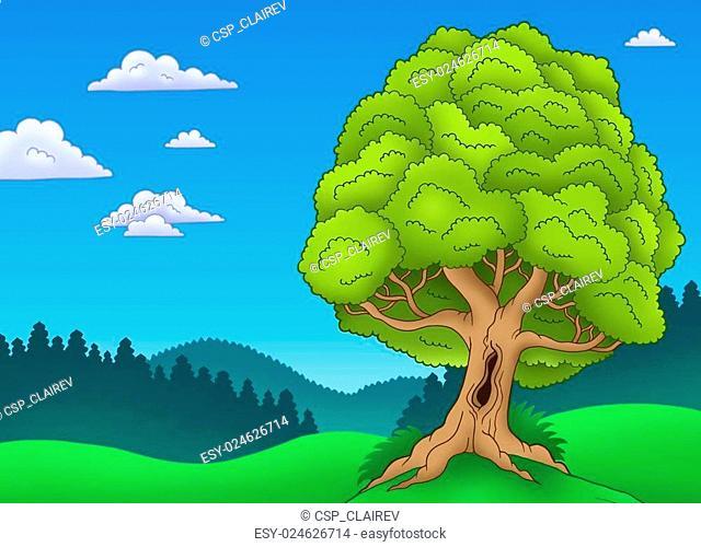 Big leafy tree in landscape