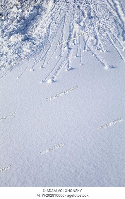 Full frame shot of ski tracks on snow