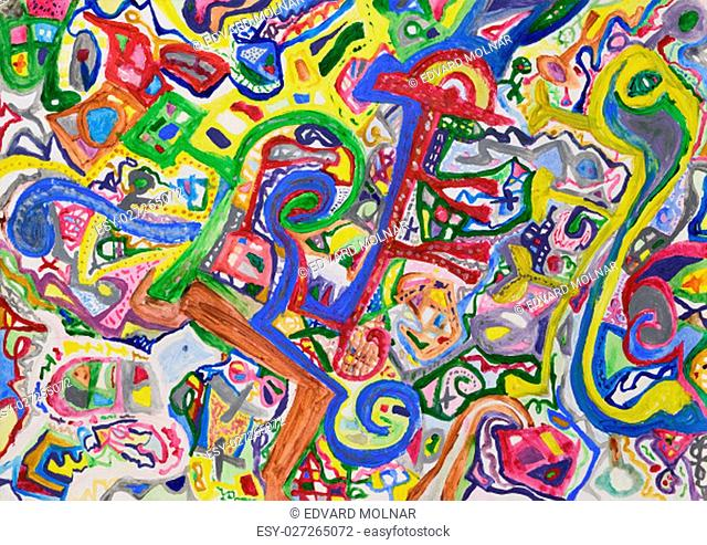 Abstract alien colorful hand painted background. Acrylic painting