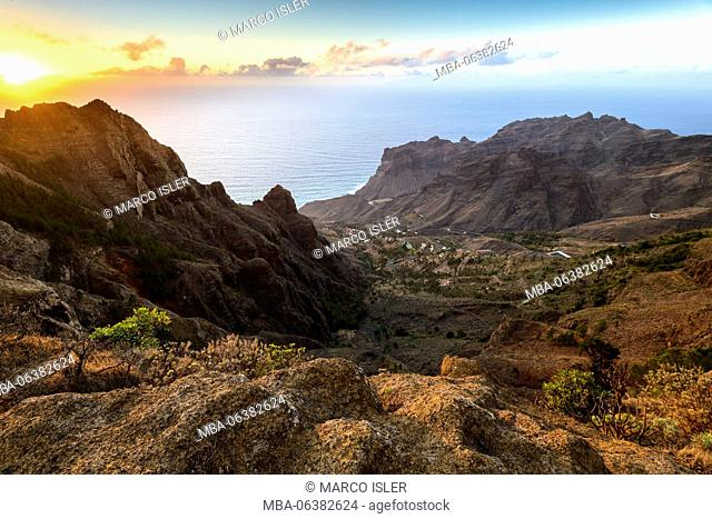 Valle Gran Rey, sundown, La Gomera, Canary islands, Spain