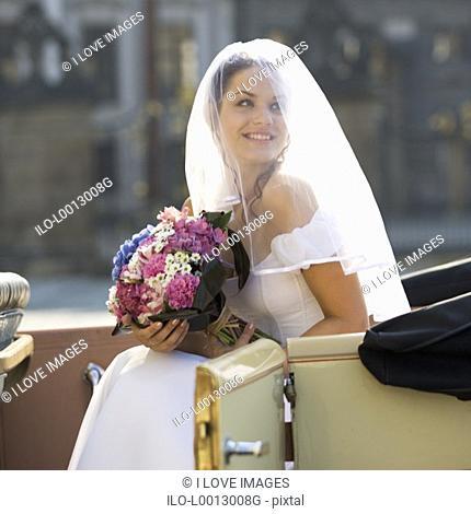 A bride arriving for her wedding