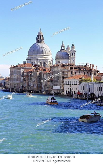 Santa Maria della Salute, Dorsoduro and Grand Canal from the Accademia Bridge, Venice, Italy