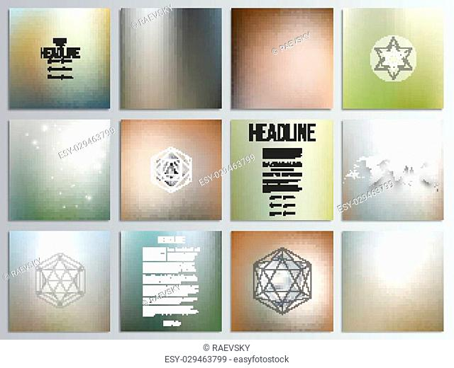Set of 12 creative cards, square brochure template design, geometric backgrounds set, abstract blurred colorful vector patterns