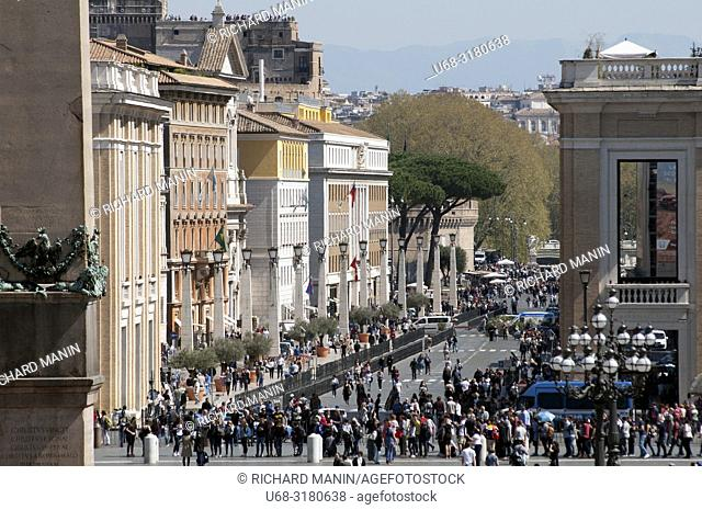 Italy, Rome. St. Peter's Square is a large plaza located in front of St. Peter's Basilica in the Vatican City