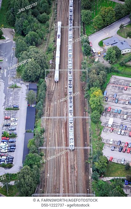 Commuter trains and tracks, Stockholm, Sweden