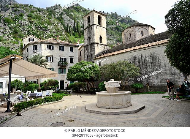 Trg od drva square and Marije Koledate church, Kotor, Montenegro