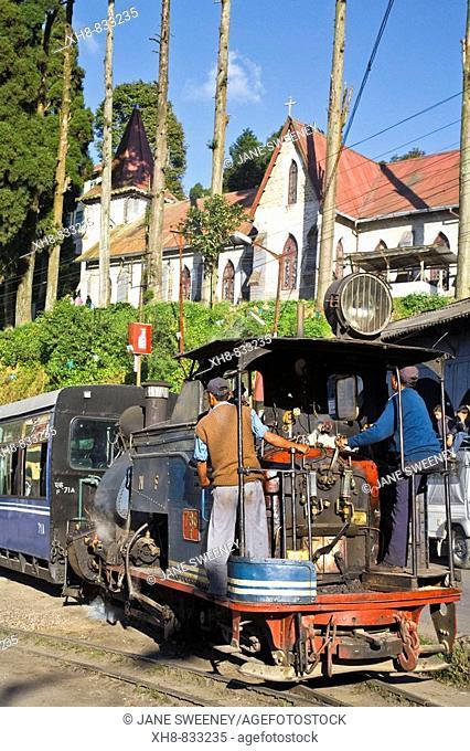 India, West Bengal, Darjeeling, Darjeeling Train station, home to Darjeeling Himalayan Railway  listed as a World Heritage Site, Steam Toy Train