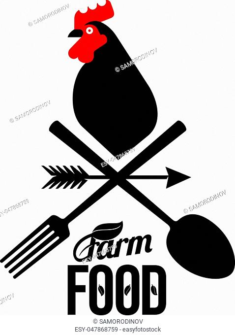 Farm logo with a rooster and a farmer's tools. Vector illustration. Farm food, chicken farm. Web banners, advertisements, brochures, business templates