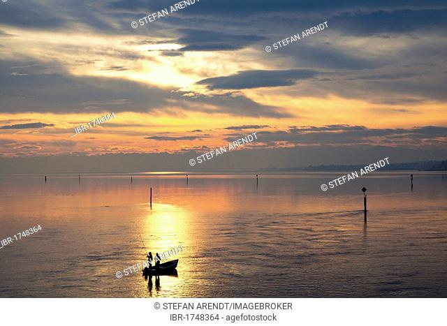 Early morning on Lake Constance near Konstanz, fishing boat, Baden-Wuerttemberg, Germany, Europe