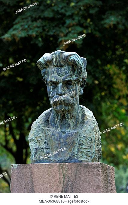 France, Haut Rhin, Alsace Wine Road, Kaysersberg, the bust of Dc Albert Schweitzer