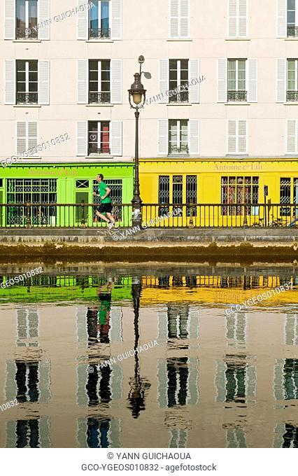 Canal Saint Martin, Quai de Walmy, Paris, France