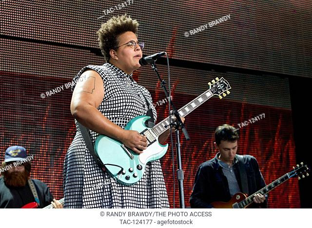 Brittany Howard lead singer and guitarist and Alabama Shakes performs at the 2016 Farm Aid at the Jeffy Lube Live in Bristow, VA September 17, 2016
