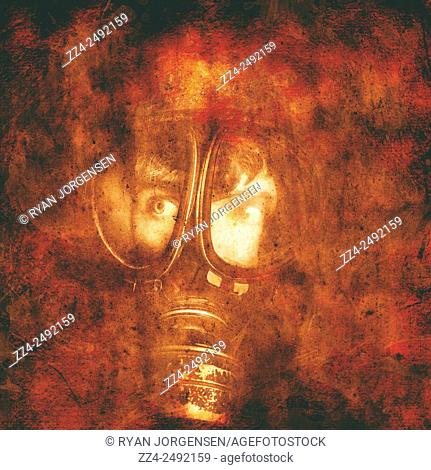 Cautious man watching and waiting in a soldiers gas mask for the oncoming false flag nuclear attack. Red states of emergency