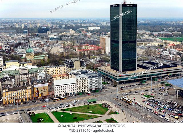 Panorama of Srodmiescie district of Warsaw, Srodmiescie - Downtown is the center of Polish capital, in front Parade Square - Plac Defilad seen from top view...