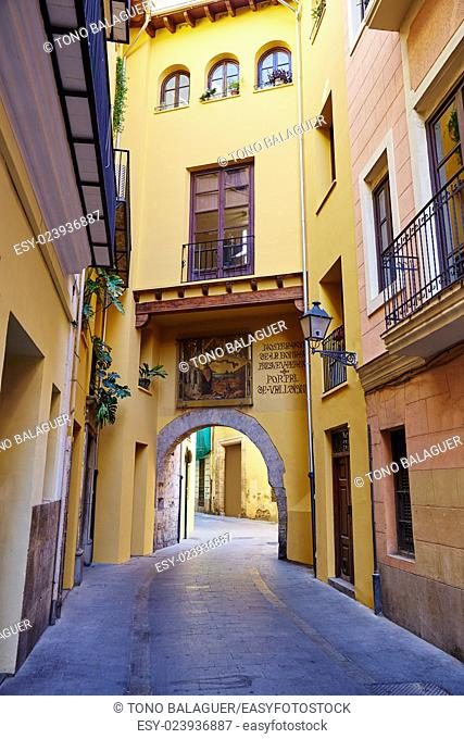Valencia Portal de Valldigna arch in barrio del Carmen at Spain