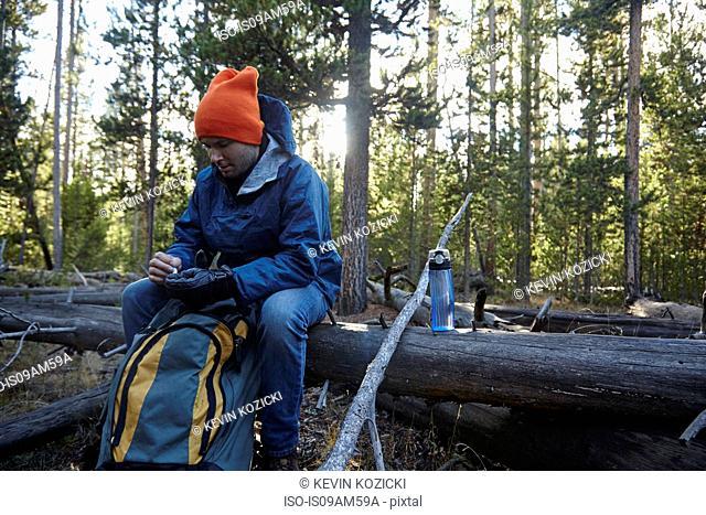 Hiker taking break, Yellowstone National Park, Wyoming, USA