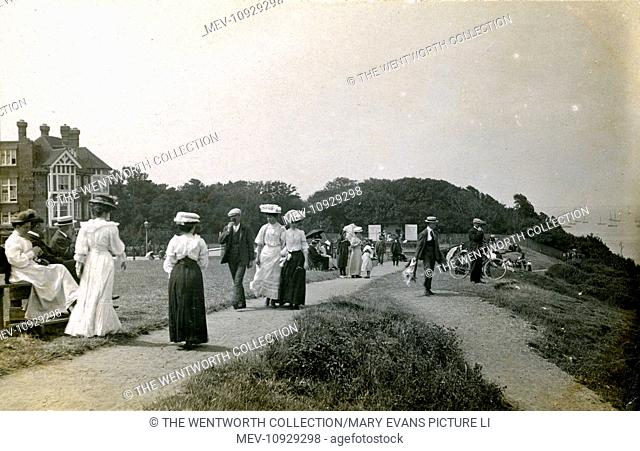 The Tankerton Hotel & Fine Edwardian Ladies on the Cliff-Top, Whitstable, Herne Bay, Kent, England