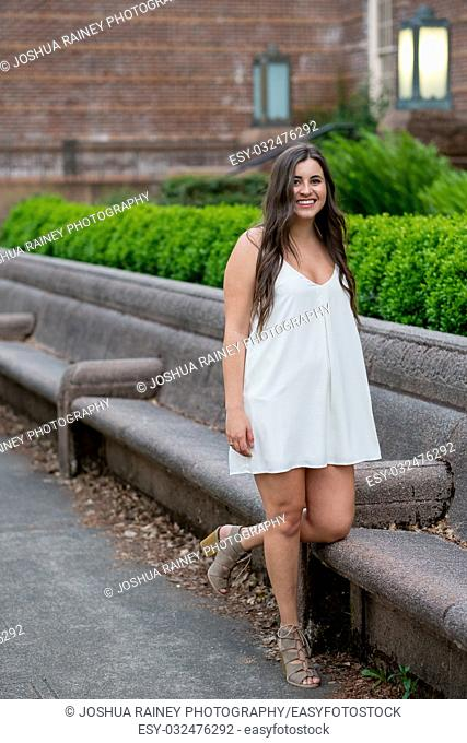 University student lifestyle portrait outdoors with natural light