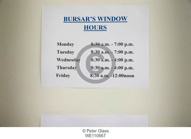 Sign at a college reading, 'Bursar's Window - Hours'