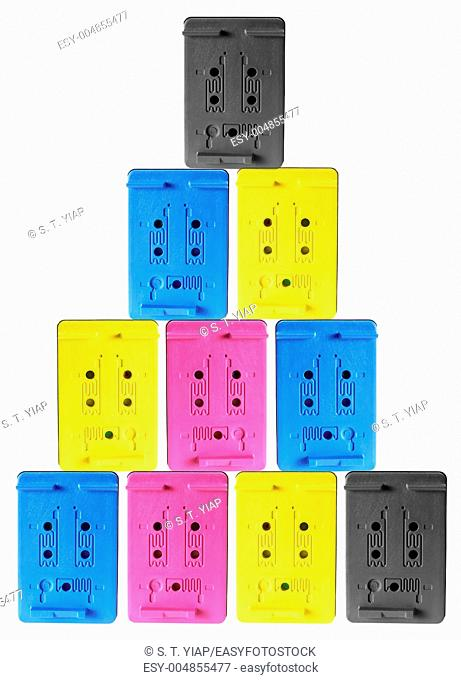 Stack of Ink Cartridges on White Background