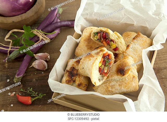 Fagottini con ripieno di verdure (crusty bread filled with vegetables), Italy