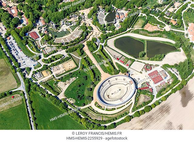 France, Vendee, Les Epesses, Le Puy du Fou historical theme park (aerial view)