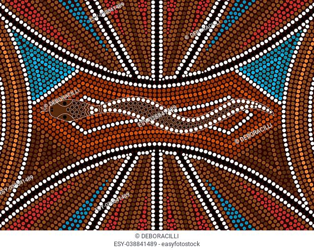 A illustration based on aboriginal style of dot painting depicting snake