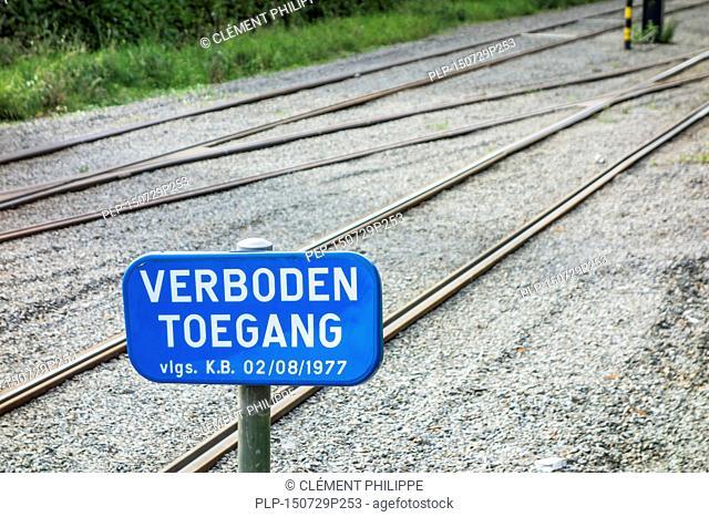 Verboden toegang / no admittance sign along Belgian tramway tracks