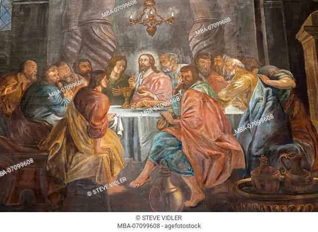 Germany, Rhineland-Palatinate, Oberwesel, St.Martin's Church, 16th century Wall Painting depicting The Last Supper
