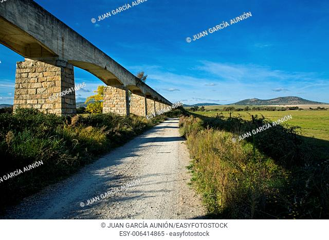 View of a irrigation canal built in concrete and stone, Valdesalor, Caceres, Spain