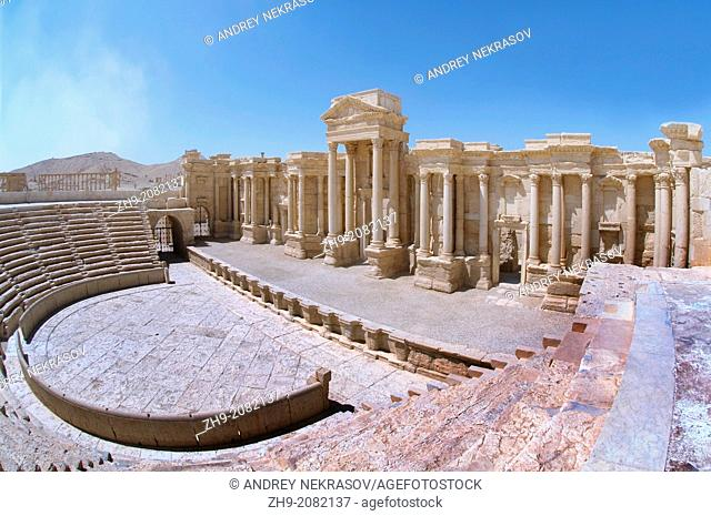 Palmyra's theater, or amphitheater in the ancient city in Palmyra, Syria