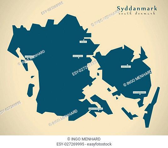 Modern Map - Syddanmark Denmark DK illustration