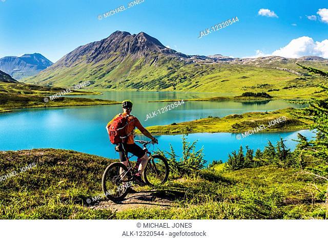 A man riding a mountain bike on the Lost Lake Trail near Seward, Southcentral Alaska, USA