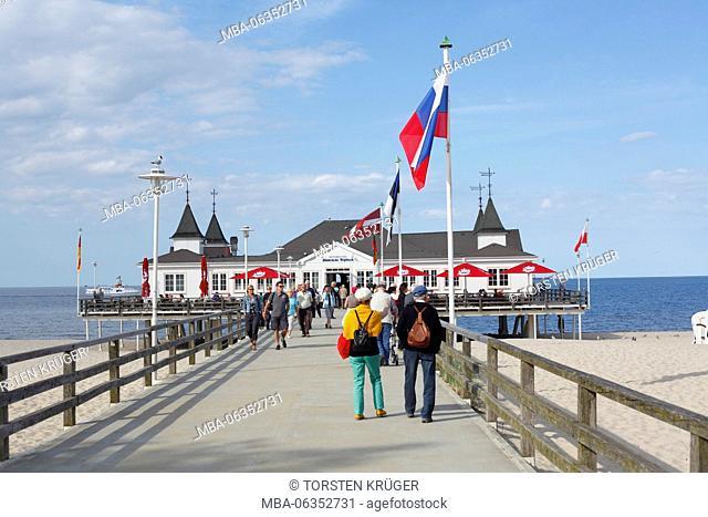 pier in Ahlbeck, Ahlbeck, island Usedom, Mecklenburg-Western Pomerania, Germany, Europe