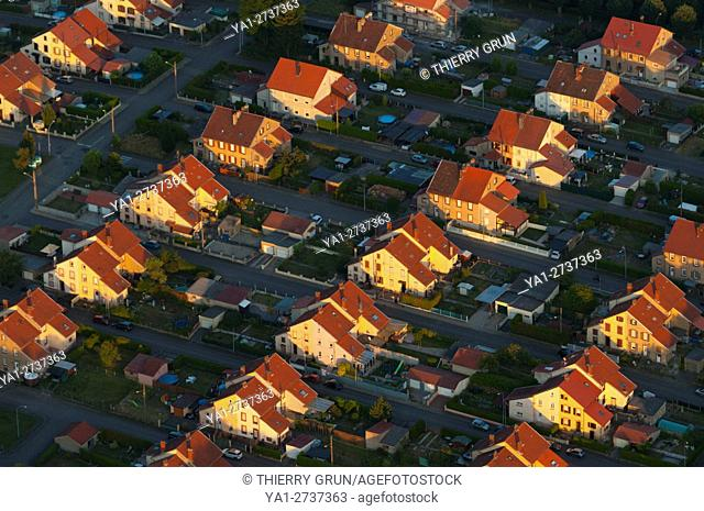 France, Moselle (57), Forbach, Petite-Rosselle village, coal miners houses (aerial view)