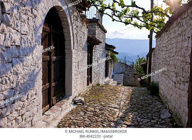 Empty side street, historic centre, UNESCO World Heritage Site, Berat, Albania